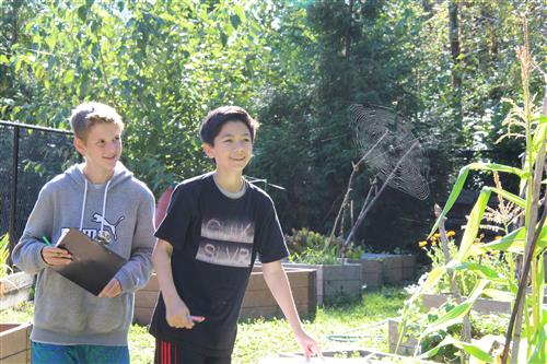 two boys examine a spider web in the outdoor classroom