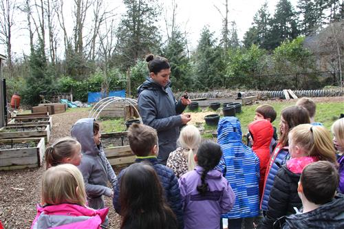 teacher leads lesson with kindergartners in the outdoor classroom garden
