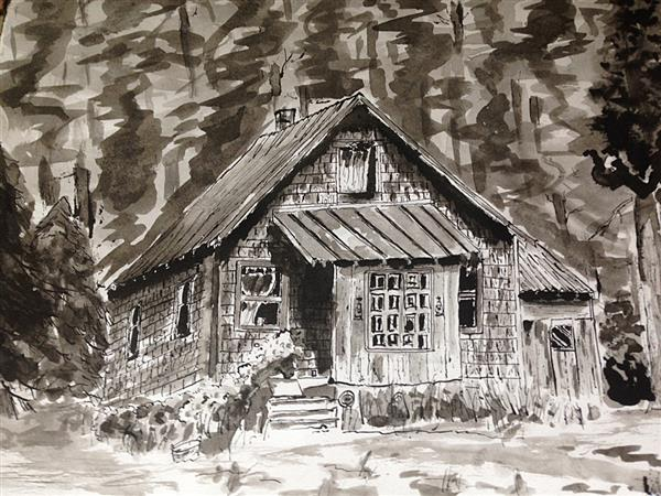 "Caleb Jacobson's rustic pen and ink rendition of ""Opal Creek Cabin, Jawbone Flats"""