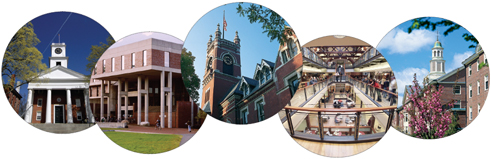 circular photos of the schools that are part of the Five College Consortium in Massachusetts