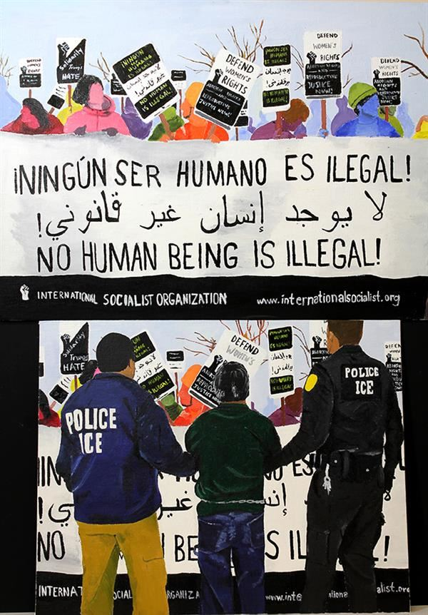 Student painting of immigration officers detaining someone in front of protesters with signs