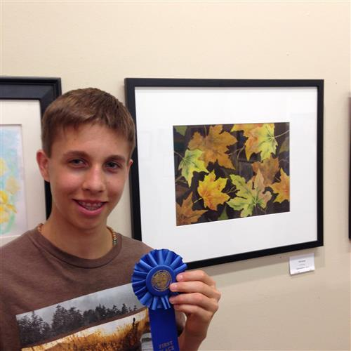 Sophomore Caleb Jacobson won first prize at the Oregon State Fair juried art competition