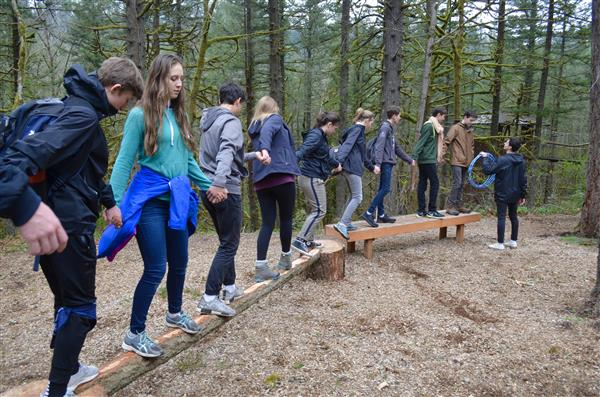 students hold hands while walking across logs