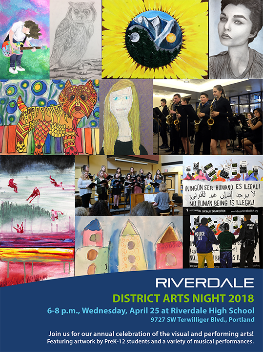 District Arts Night poster featuring student art images