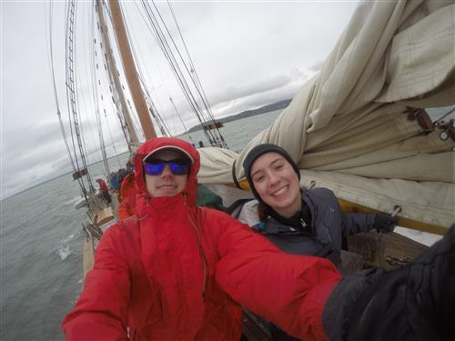 Students sailing on a schooner during field studies