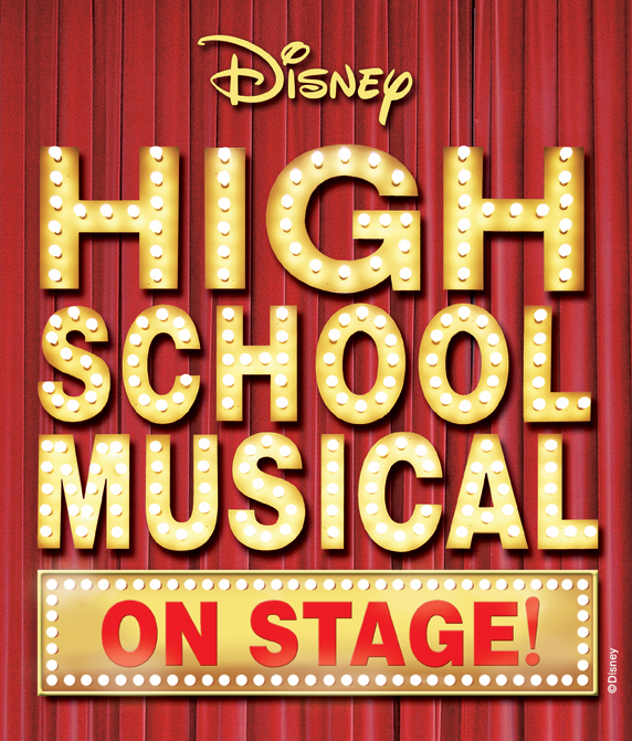 Disney's High School Musical on stage, written in lights on red curtain background