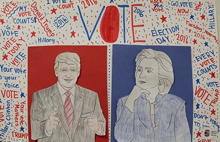 Hand-drawn poster showing Donald Trump and Hillary Clinton