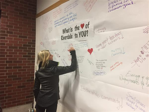 parent writing on the wall what the heart of Riverdale means to her
