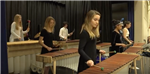 students play marimbas on stage