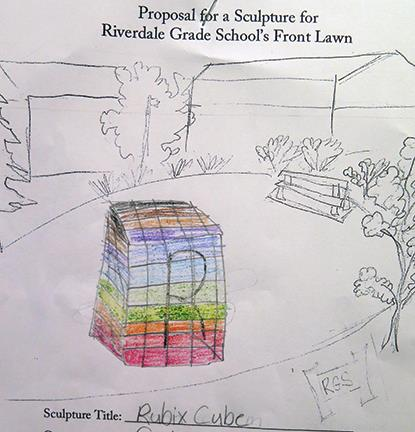 Student's drawing of a Rubik's Cube sculpture