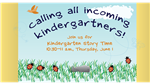 Kindergarten Story Time invite on colorful outdoor background