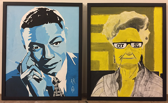 paintings by Riverdale High School students hang in Sen. Wagner's office in Salem