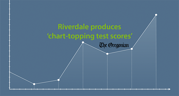 Riverdale produces chart topping test scores written across  a line graph image