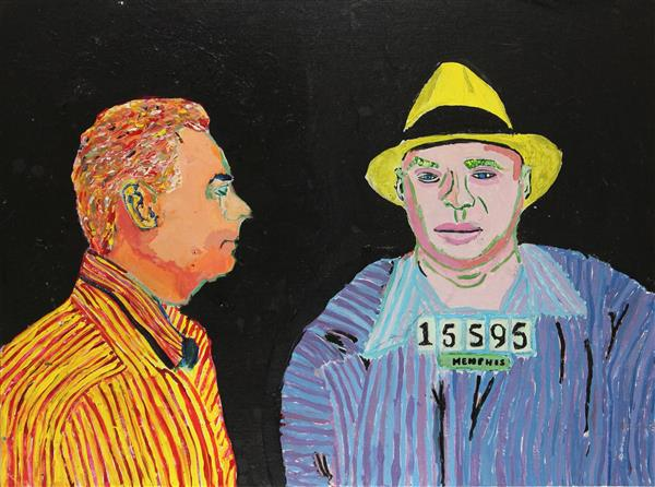 Painting of two men, one looking forward, the other looking sideways, titled Not the Rapper
