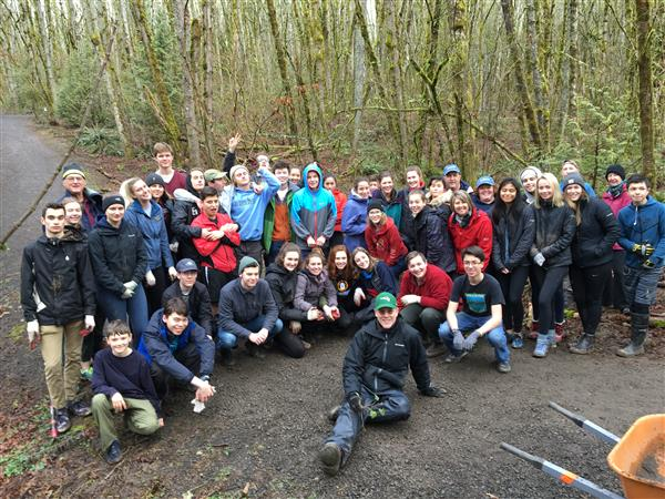 large group of student volunteers at Springbrook Park