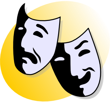 theater masks representing comedy and tragedy