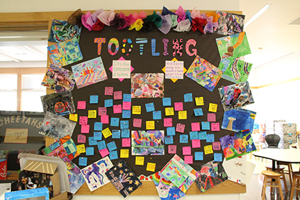 Tootle board covered in notes praising students