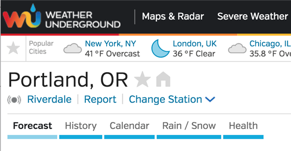 Screenshot of Weather Underground website showing Riverdale's weather station data