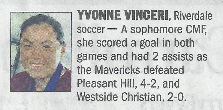 Yvonne's write-up in the Athletes of the Week section of the newspaper