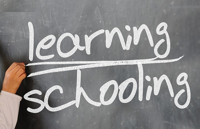 learning and schooling written on a blackboard