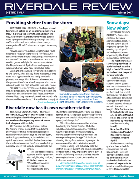Cover of winter issue of district newsletter