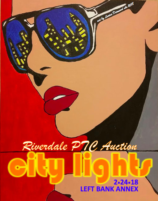 auction poster featuring a student painting of a woman with sunglasses reflecting a city skyline