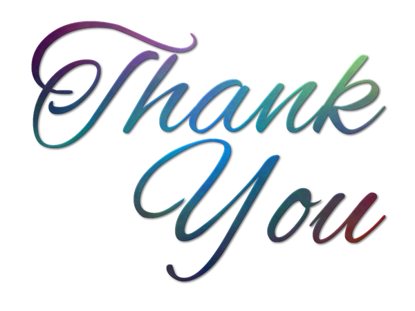 the words thank you written in multiple colors