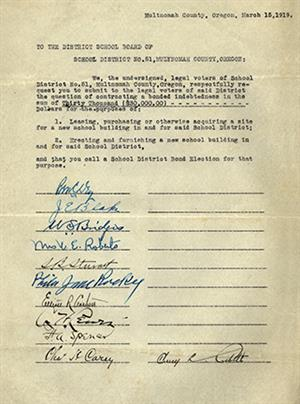 Petition for bond request, circa 1919