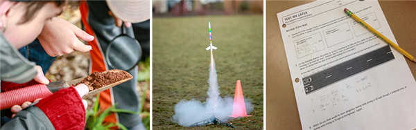 Student studies soil sample, rocket launches, and math assignment