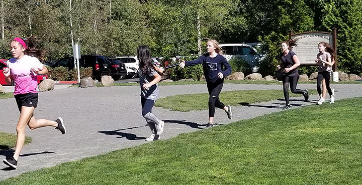 Students run a relay