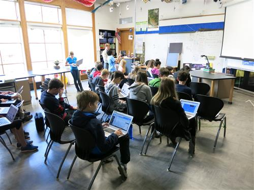 Students using laptop computers in class